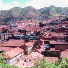 The city of Cuzco when you look at the Peruvian highlands.